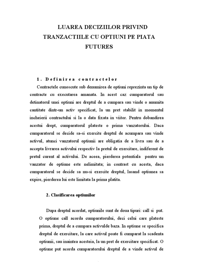 Contractele opționale sunt ... tipuri, concepte și caracteristici - Comercial - 2021