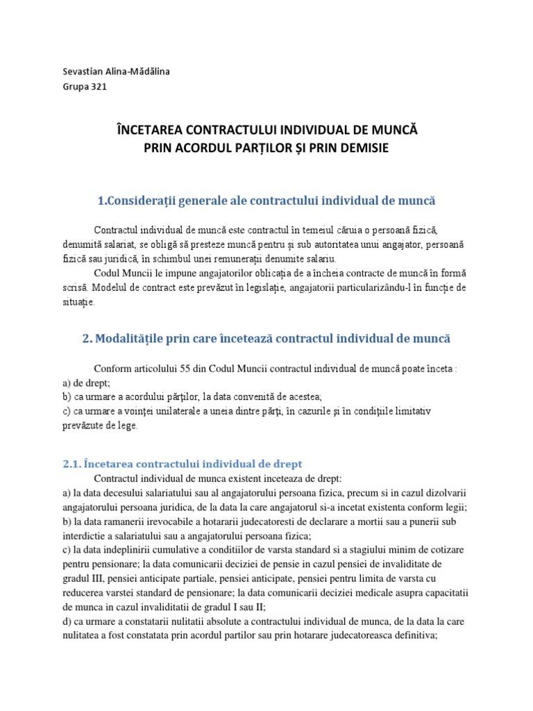 Codul Muncii Adnotat - Titlul II - Capitolul - 5 - Încetarea contractului individual de muncă