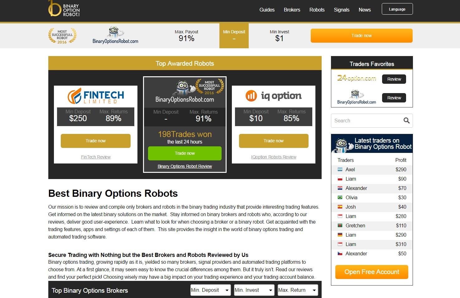 robot pe opțiuni binare recenzii